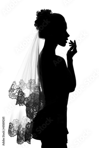 Girl bride silhouette.