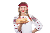 Smiling girl with pancakes