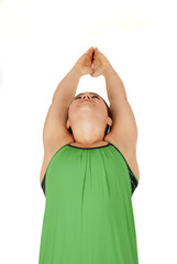 Young yoga instructor in the Warrior 1 pose