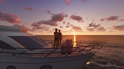 romantic couple on a pleasure boat