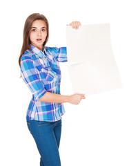 Cute brunette holding blank banner.