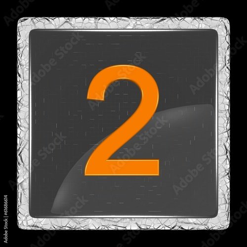 White and black glass icon with number two