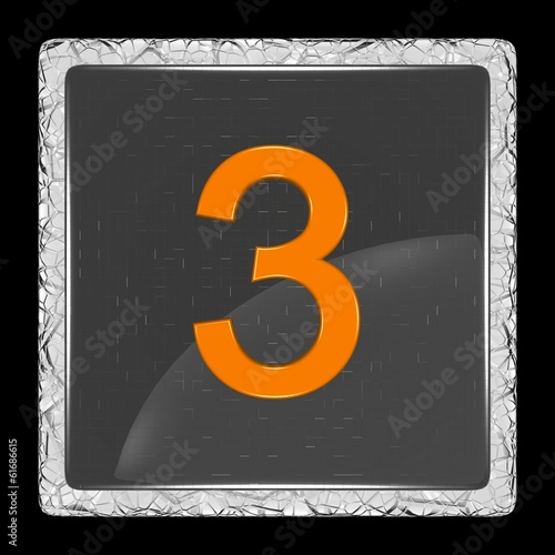 White and black glass icon with number three