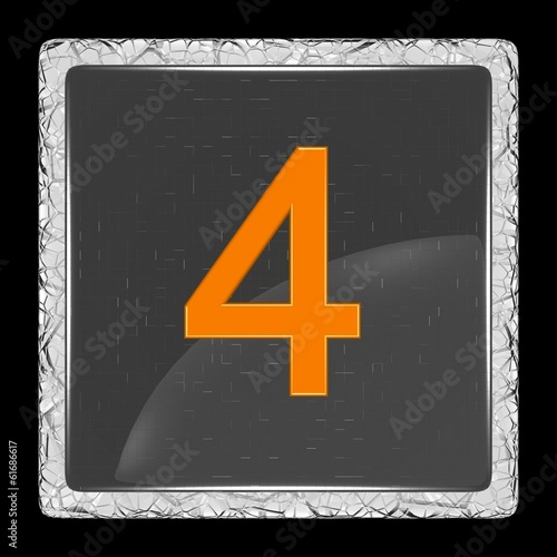 White and black glass icon with number four