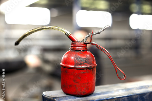 red oil can in production hall