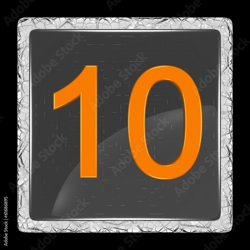 White and black glass icon with number ten