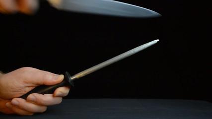 knife sharpening warm light