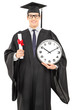 Male graduate student holding a diploma and big wall clock