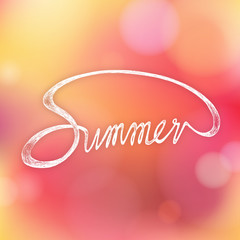 SUMMER - Hand drawn season quote on bokeh background