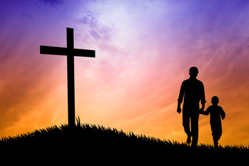 father and son under the cross