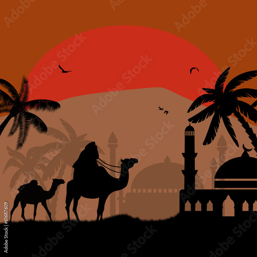 Bedouin riding camel during the red night