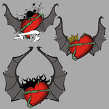 heart winged bat set vector