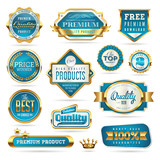 blue and golden quality stickers and seals