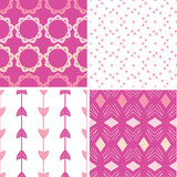 vector four abstract geometric pink seamless patterns set in