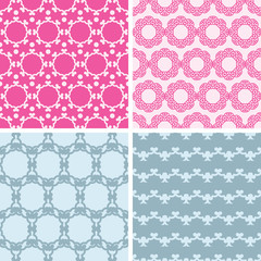 vector four abstract chain motives seamless patterns set in