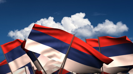 Waving Serbian Flags