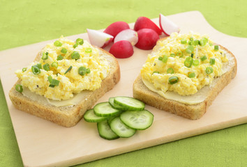Open face egg salad sandwich