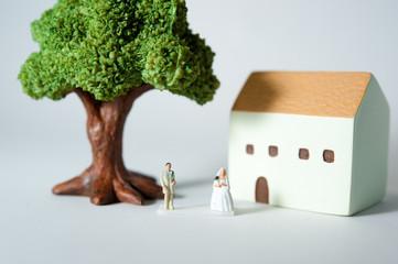 大きな木の下で結婚式をする新郎新婦