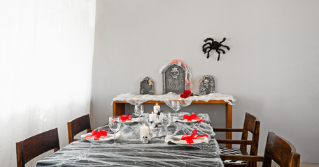 Halloween dinner table setup