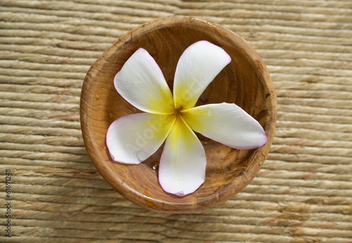 White frangipani flower in water wooden bowl on mat