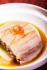 Chinese dishes. Sliced pork