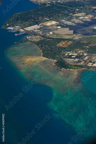 Aerial view of tropical beach and water
