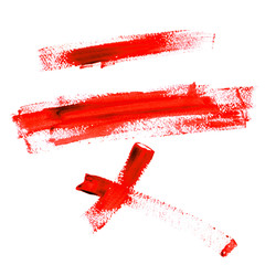 Color Traces Line of Red Paint isolated on a white