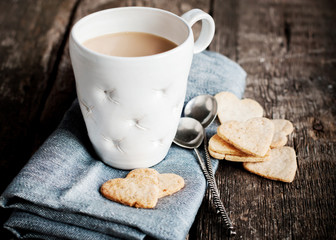 Pastry Cookies with Cup of Tea