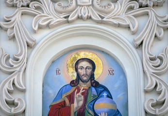 Fresco of Jesus  at Caves monastery in Kiev.