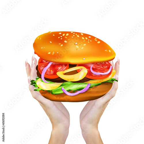 Big Appetizers Hamburger in female hands.Fast Food