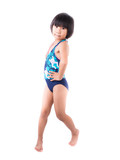 Cute smiling little girl in swimsuit isolated on white backgroun
