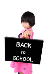 Little girl in pink dress with briefcase Message back to school