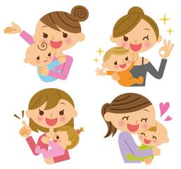 母子 複数 表情