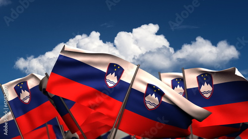 Waving Slovenian Flags