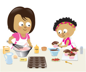 Mother and daughter baking