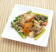 Asian stir fried asparagus cooked with seafood