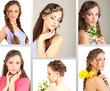 Collage of beautiful girl with different hairstyles