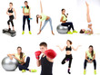 Young people exercising collage isolated on white