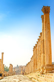 Main streert of the ancient Jordanian city of Jerash