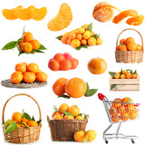 Collage of ripe tangerines isolated on white