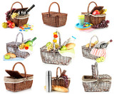 Collage of picnic baskets isolated on white