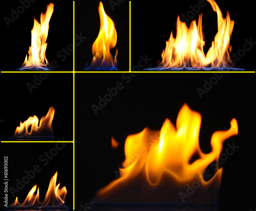 Collage of fire on black background