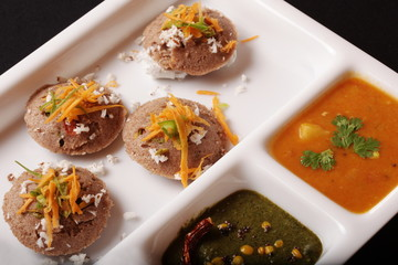 Ragi Idli, is a savory cake of south Indian origin
