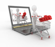 3d humans and a laptop, make online purchases