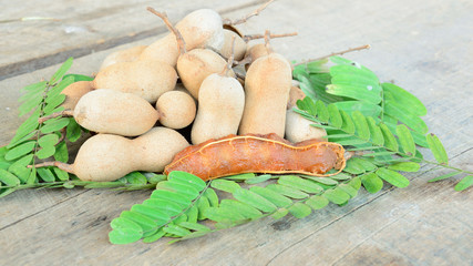 fresh and cracked tamarind on green leaf
