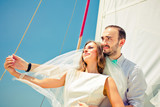 bride and groom on a yacht