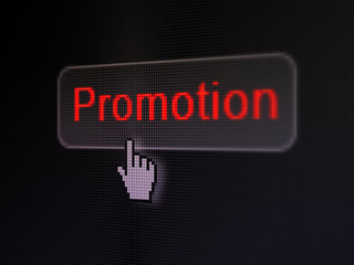 Marketing concept: Promotion on digital button background
