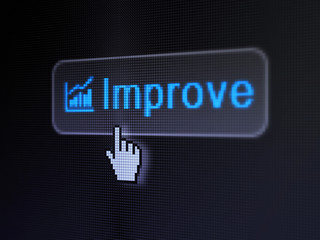 Business concept: Improve and Growth Graph on digital button