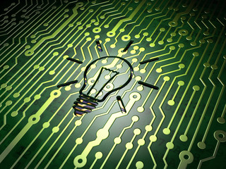 Business concept: Light Bulb on circuit board background