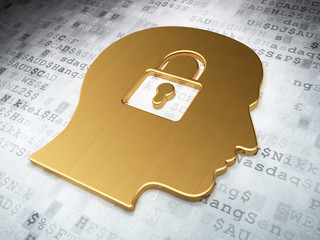 Finance concept: Golden Head With Padlock on digital background
